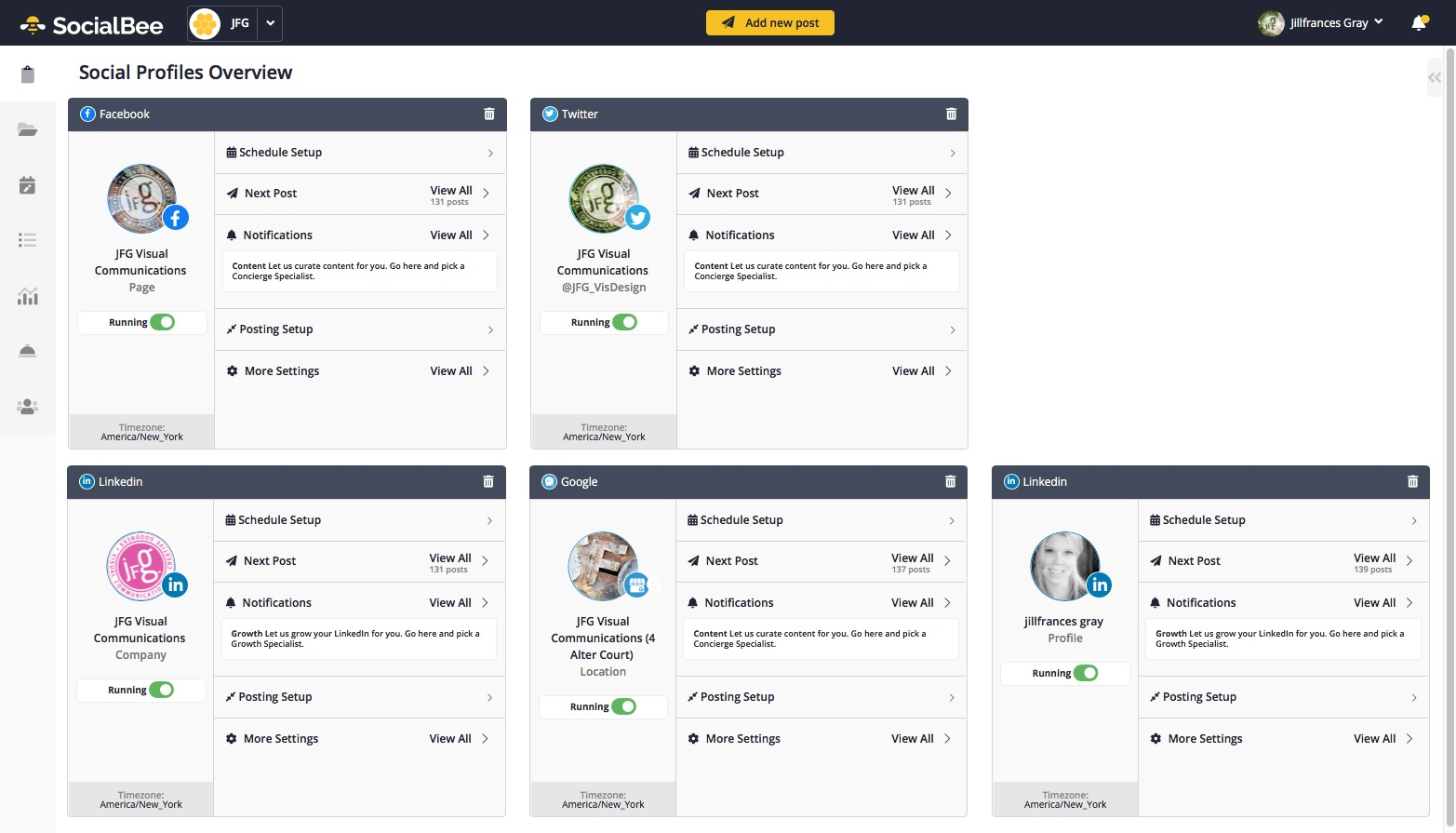 SocialBee screen view of channel overview