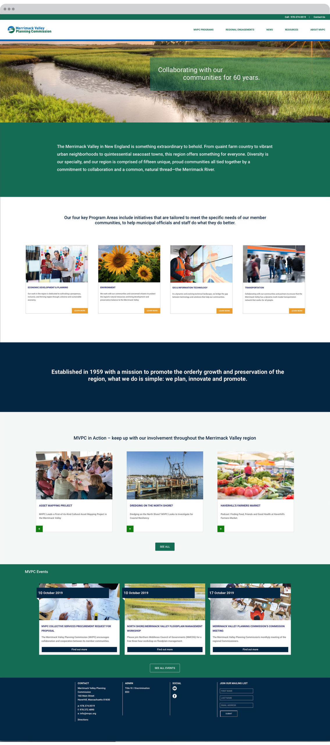 Merrimack Valley Planning Commission Website Home Page