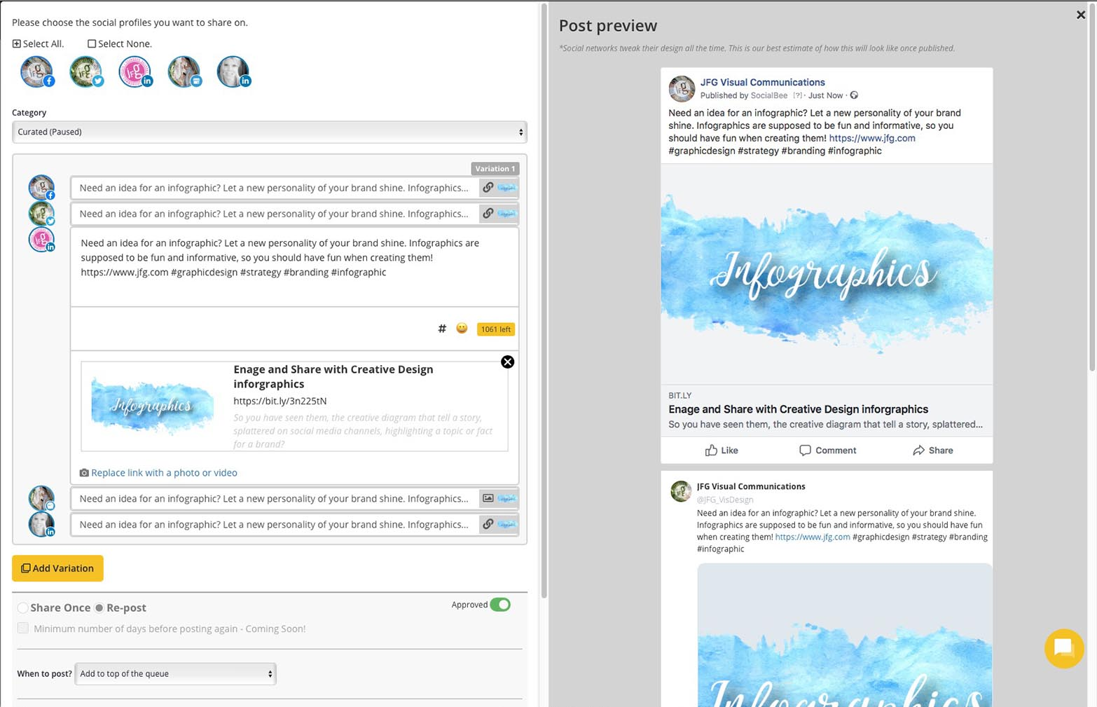 SocialBee Multi view Post view